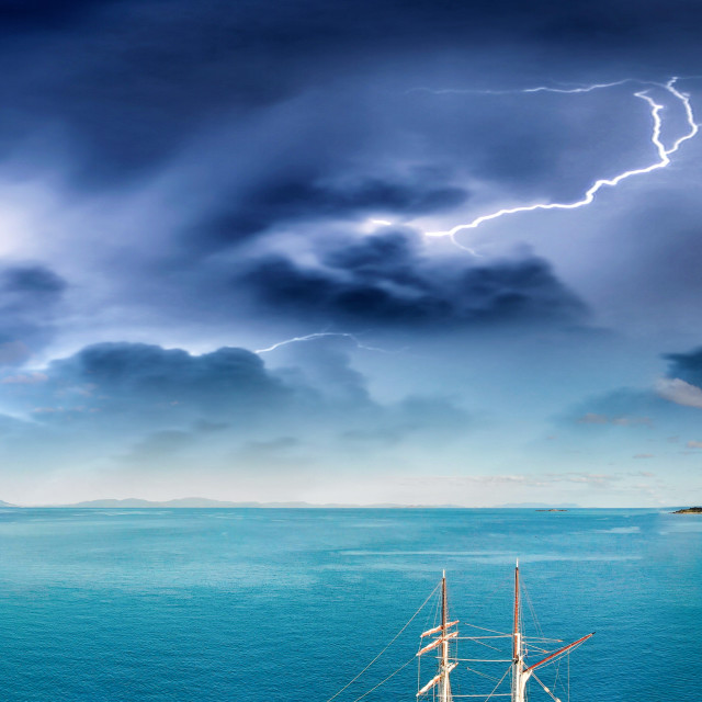 """""""Storm over Whitsunday Islands, aerial view"""" stock image"""