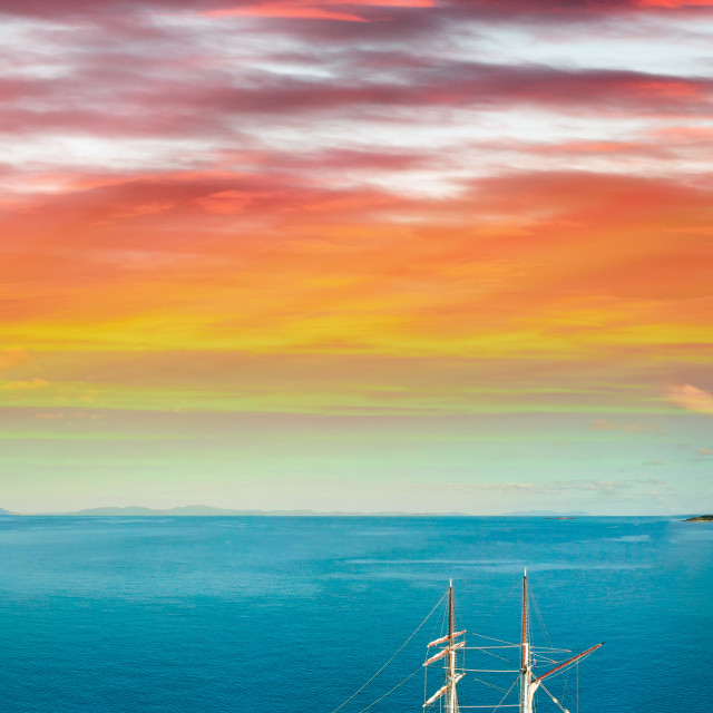 """Whitsunday Islands, Australia. Aerial view of beautiful seascape at sunset"" stock image"