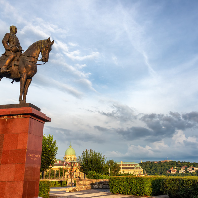 """""""Equestrian Statue in Budapest"""" stock image"""