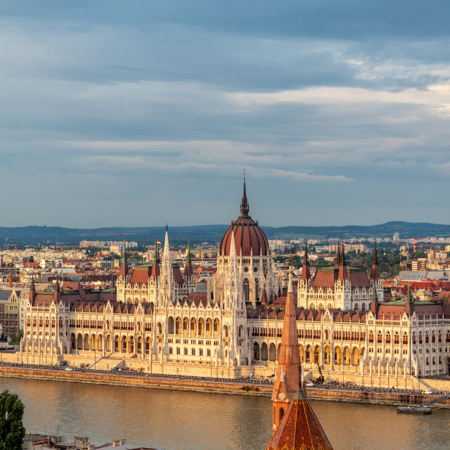 """Hungarian Parliament During the Golden Hour"" stock image"