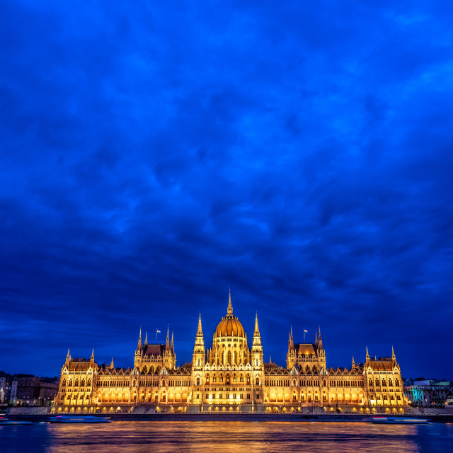"""Hungarian Parliament and Dramatic Sky"" stock image"