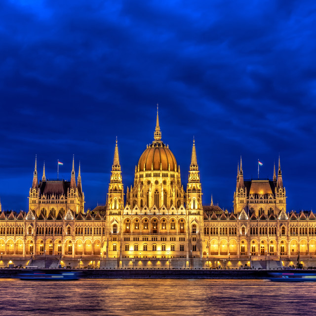 """Blue Hour Closeup of the Hungarian Parliament"" stock image"