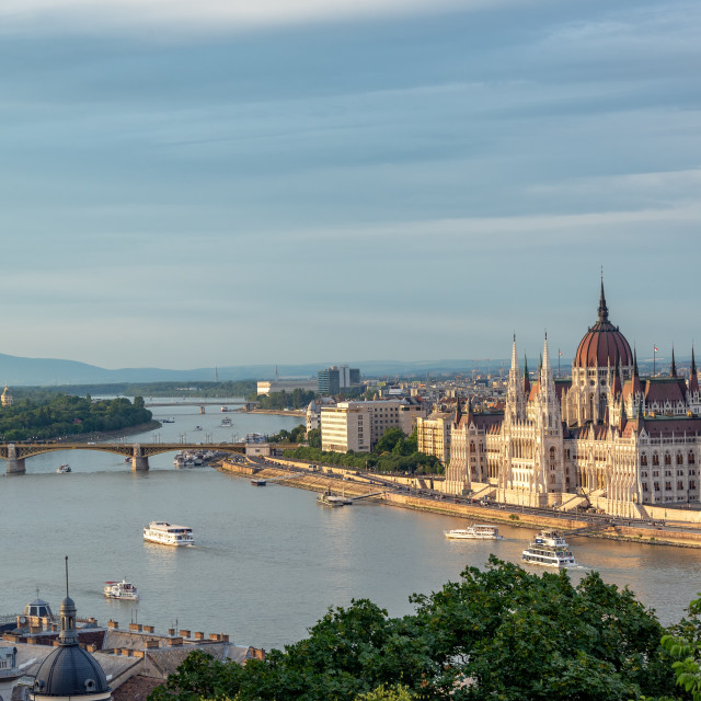 """Hungarian Parliament and Danube River"" stock image"