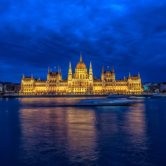 """Hungarian Parliament and Danube River at Night"" stock image"