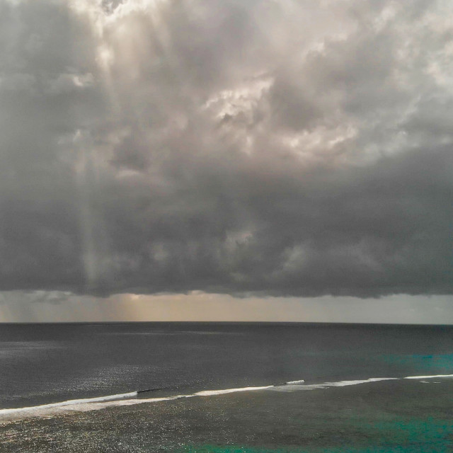 """""""Aerial view of beauitful ocean with storm approaching"""" stock image"""