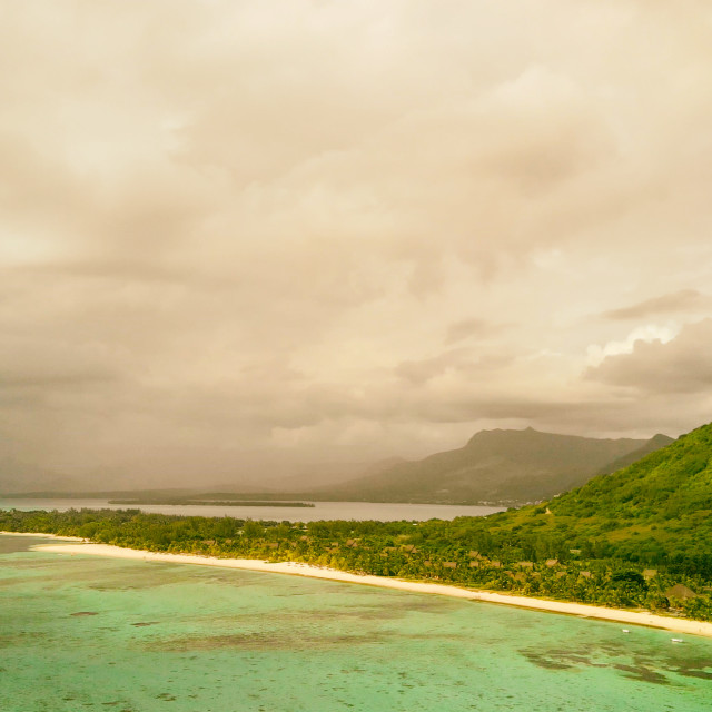 """""""Aerial view of Le Morne Brabant beach in Mauritius. Holiday and travel concept"""" stock image"""