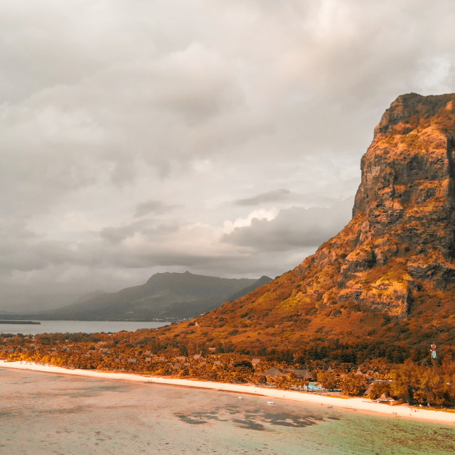 """""""Le Morne Brabant in Mauritius. Aerial panoramic view of beautiful beach and..."""" stock image"""