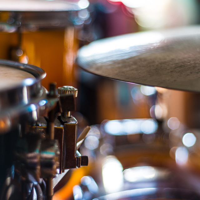 """Snare drum and ride cymbal details"" stock image"