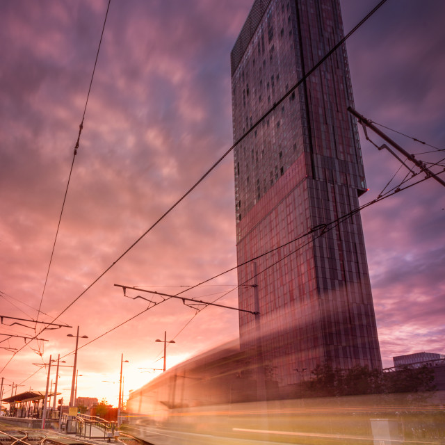 """Energetic Manchester, Castlefield_Deansgate tram stop"" stock image"
