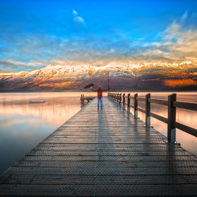 """Wharf of Glenorchy, New Zealand"" stock image"