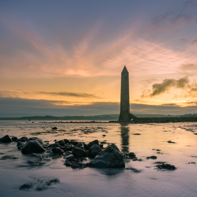 """Larne, County Antrim, Northern Ireland / January 8 2017: Chaine Memorial tower"" stock image"