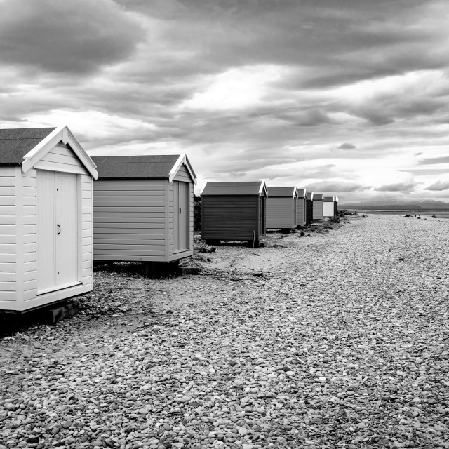 """""""Beach Huts Findhorn"""" stock image"""