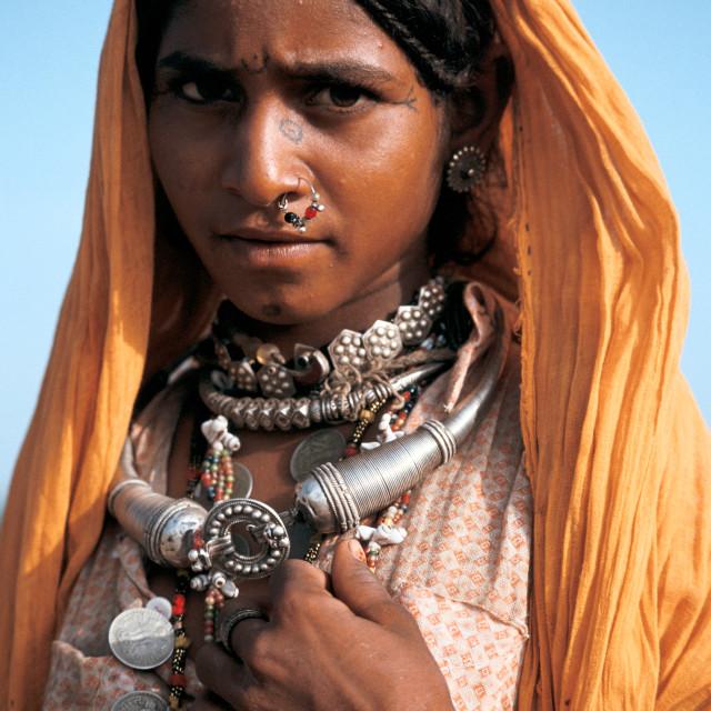 """""""Low caste girl in the Thar desert ( India)"""" stock image"""