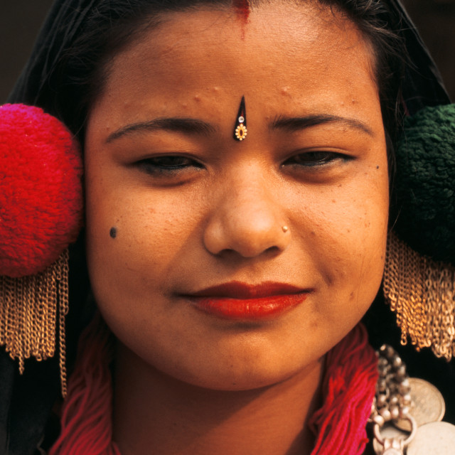 """Newly wed woman from the Tharu tribe ( Nepal)"" stock image"