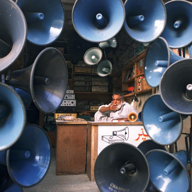 """Loudspeakers seller ( Pakistan)"" stock image"