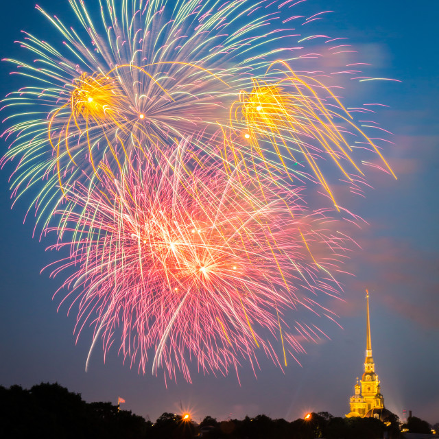 """Saint Petersburg, Rusisa - July 29, 2018 - firework display in the evening sky over Peter and Paul fortress during celebrations of the Navy Day"" stock image"