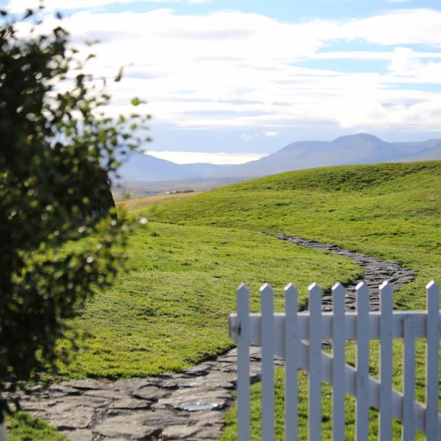 """""""Path Through Glaumbaer Turf House Farm, Iceland"""" stock image"""