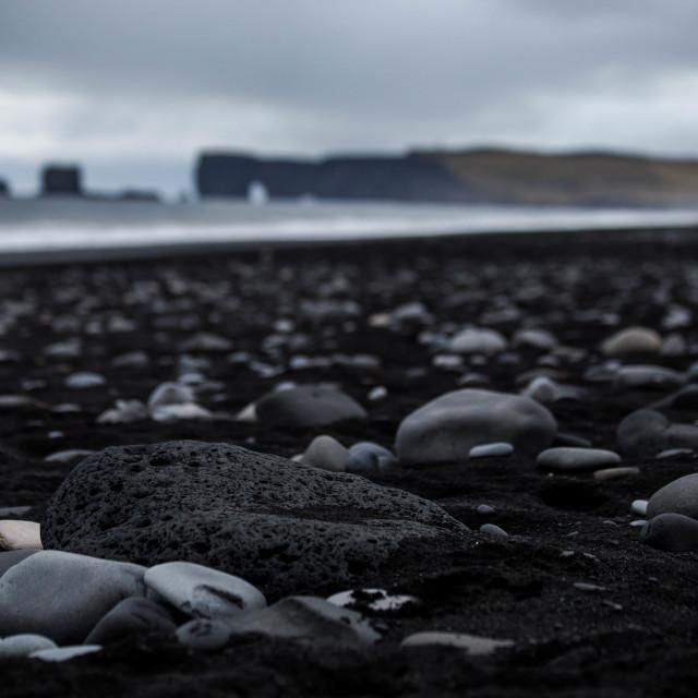 """Porous Lava Rock on Black Sand Beach Vik Iceland"" stock image"