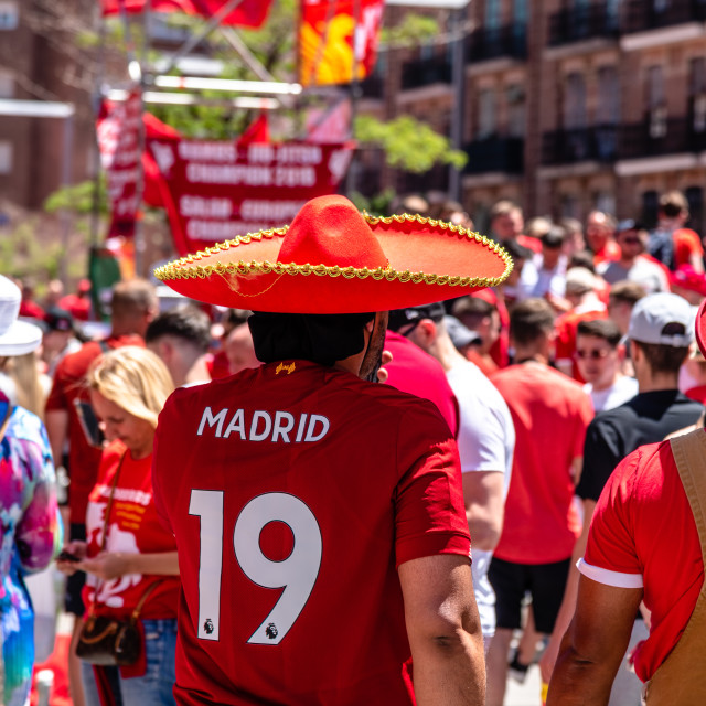 """Liverpool fans at the UEFA Champions League Final in Madrid"" stock image"