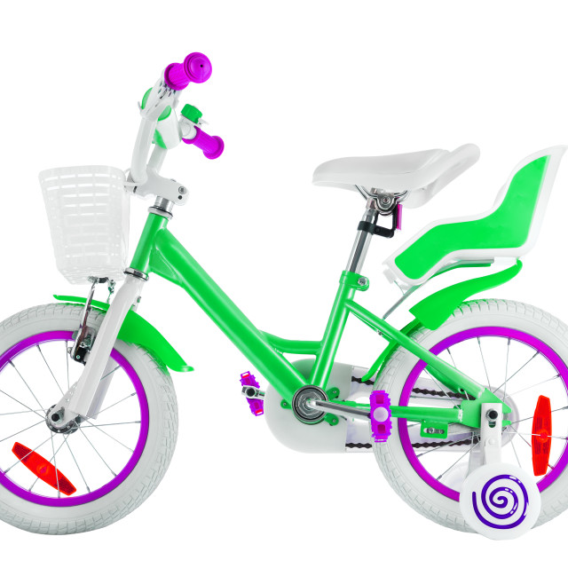 """""""Bicycle for kids with clipping path isolated on white background"""" stock image"""
