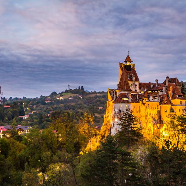 """Bran, Romania - September 27, 2018: night view of famous medieval castle Bran in the Carpathian Mountains, Transylvania, Romania."" stock image"