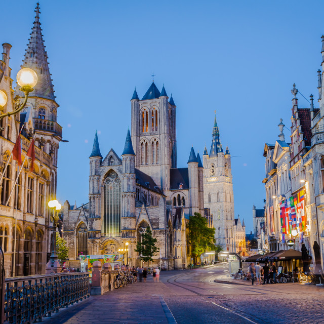 """""""Ghent, Belgium - June 20, 2018 - old town street view at night"""" stock image"""