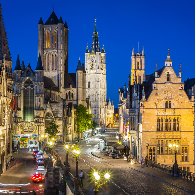 """Ghent, Belgium - June 20, 2018 - old town view at night"" stock image"