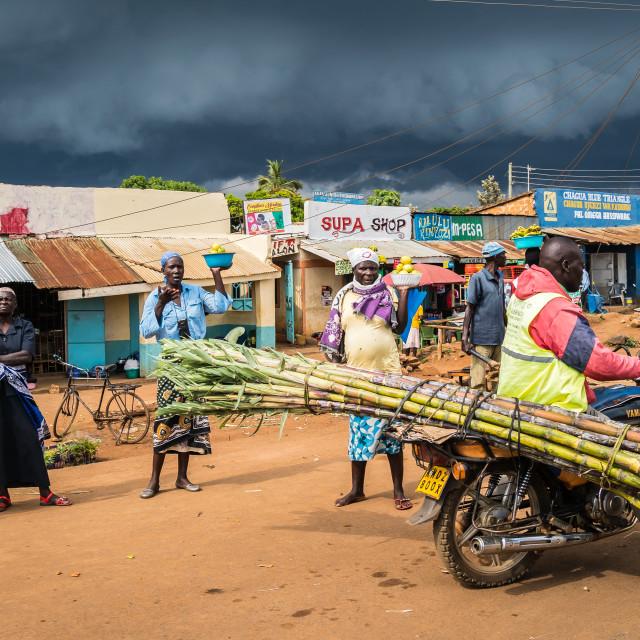 """near Kisumu, Kenya - March 8, 2019 - a roadside market"" stock image"