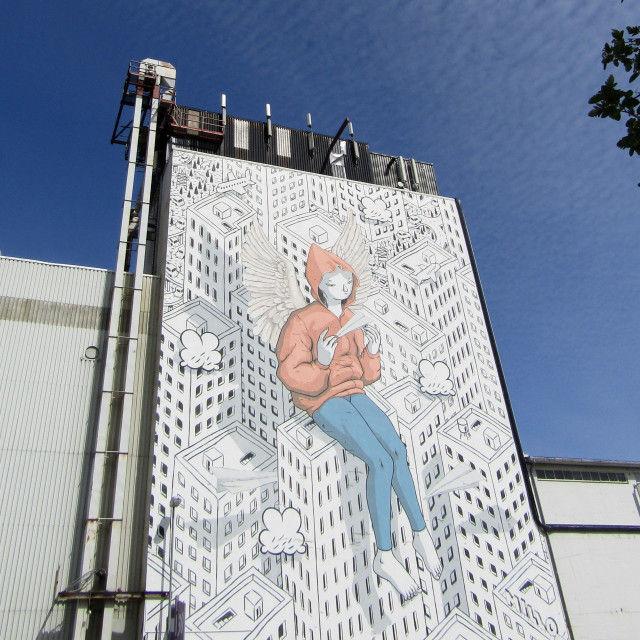 """Large Milo mural in Trondheim"" stock image"