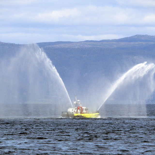 """Vessel testing fire hoses in Trondheim harbour"" stock image"