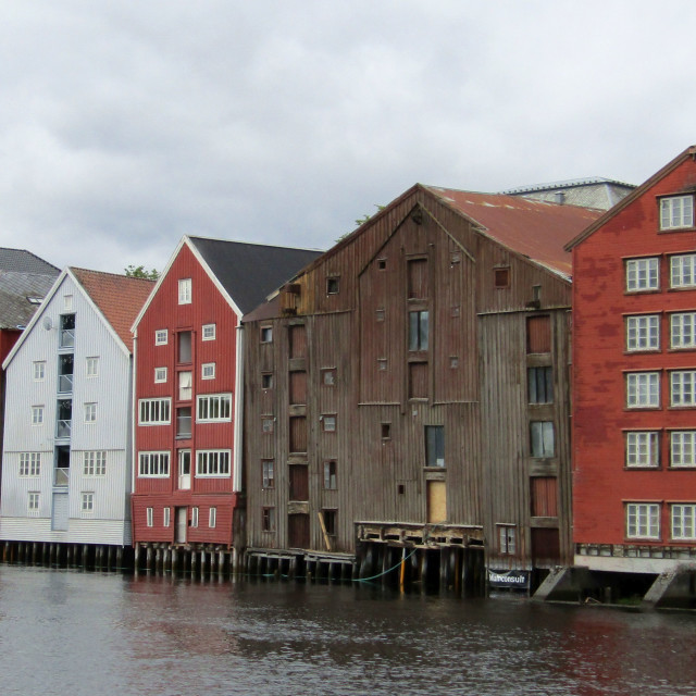 """Colourful Trondheim buildings along River Nidelva"" stock image"