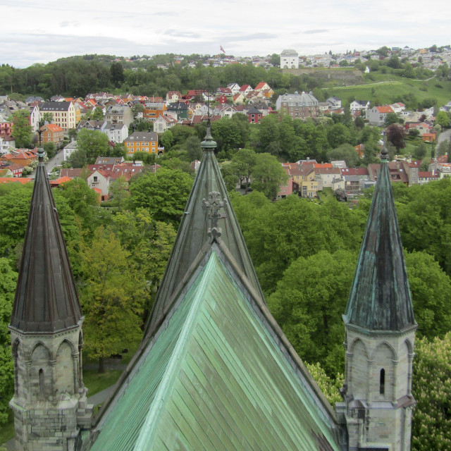 """View from Nidaros Cathedral tower"" stock image"