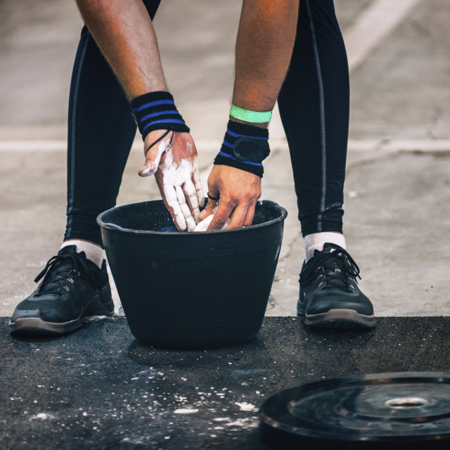 """Weightlifter getting ready"" stock image"