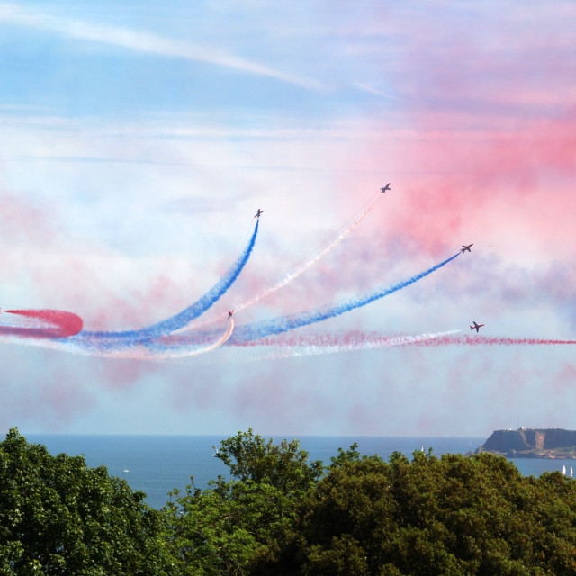 """""""Red Arrows over Torbay"""" stock image"""