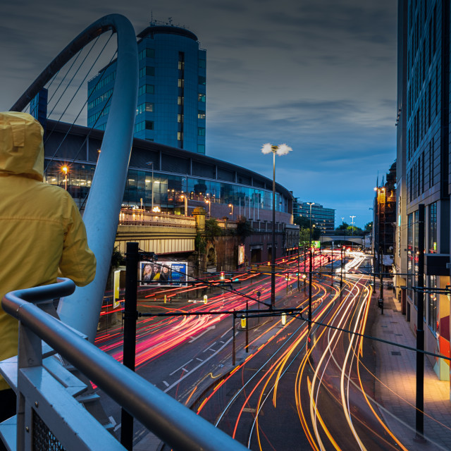 """Watching the world speed by, Manchester Piccadilly"" stock image"