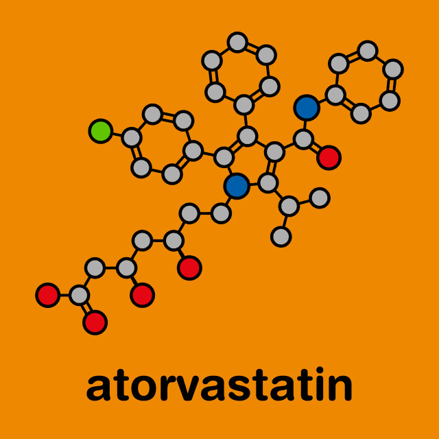 """Atorvastatin cholesterol lowering drug, molecular model"" stock image"