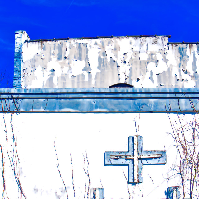 """Broken Cross on an old building"" stock image"