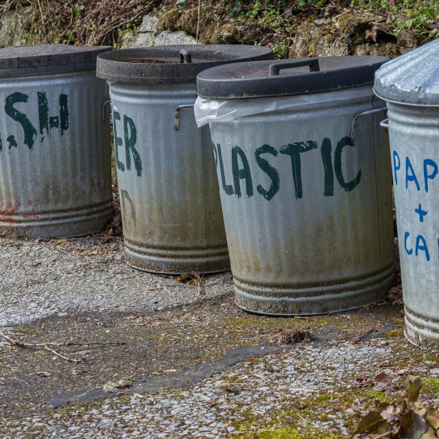 """Metal outdoor recycling bins"" stock image"
