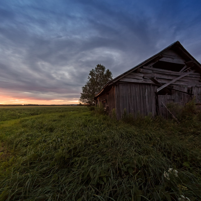 """""""Dramatic Clouds Over An Old Barn House"""" stock image"""
