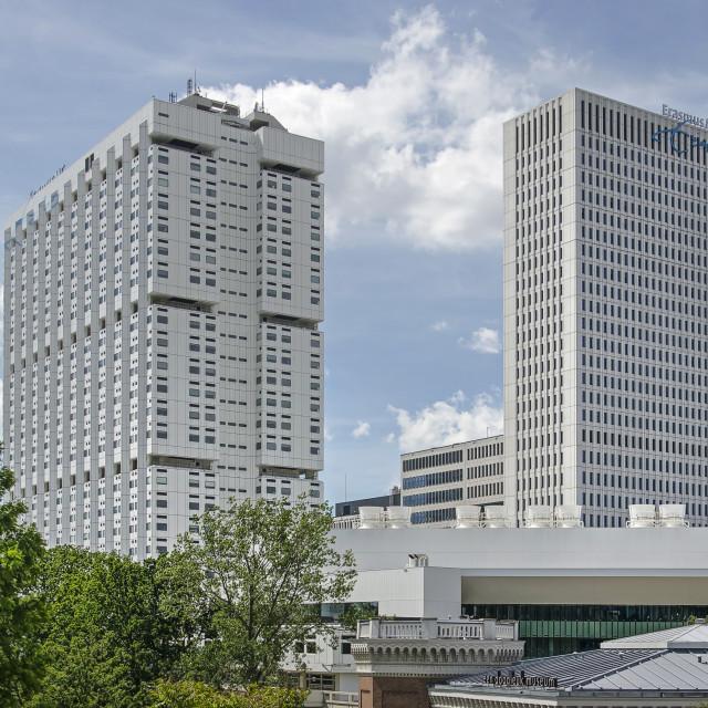 """Rotterdam hospital twin towers"" stock image"
