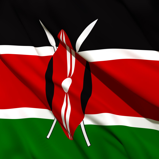 """3d rendering of Kenya flag"" stock image"