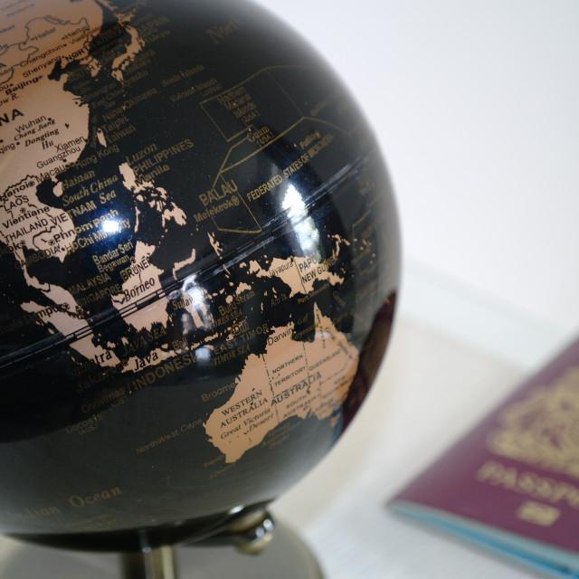 """Deciding where to travel to next"" stock image"