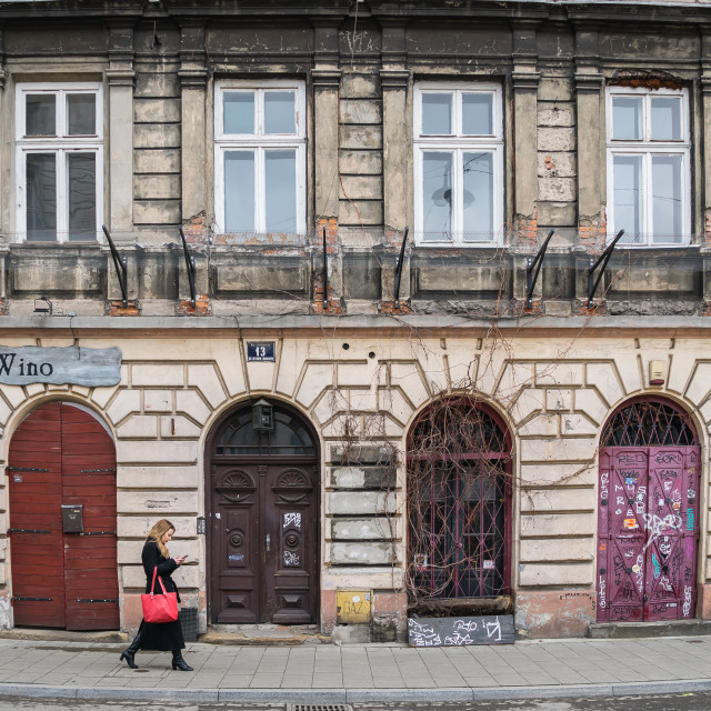 """Krakow, Poland - March 22, 2019 - an old building in historic Jewish Quarter"" stock image"