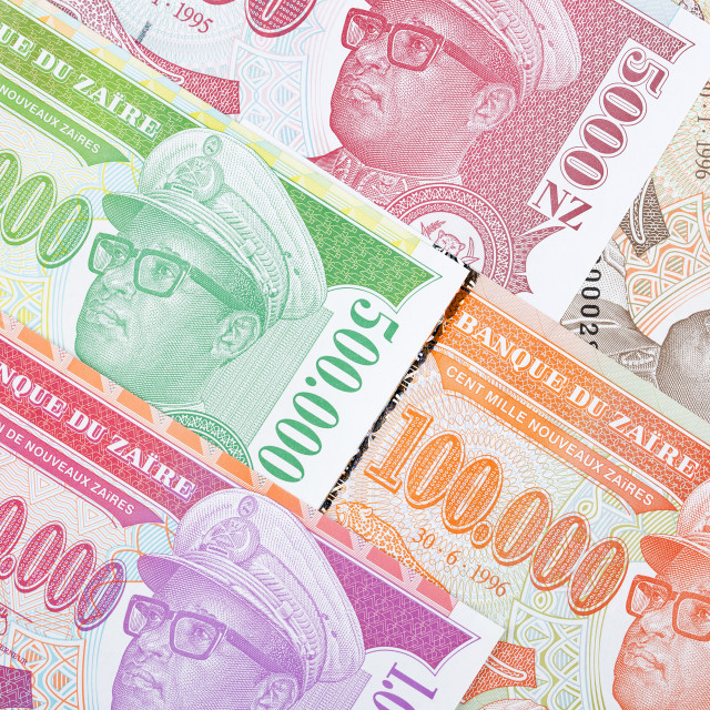 """Zairean money, a background"" stock image"