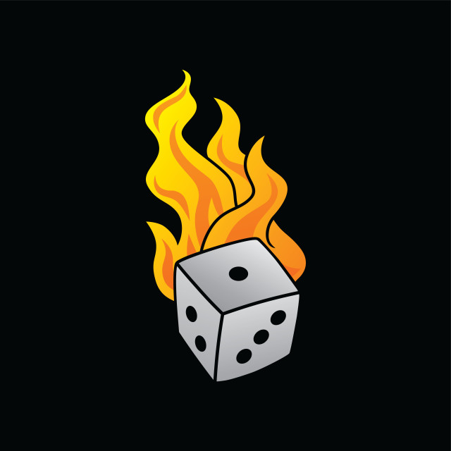 """flaming on fire burning white dice risk taker gamble vector art"" stock image"
