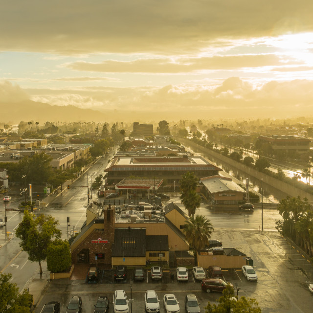 """Sunshine after Rain over Los Angeles"" stock image"