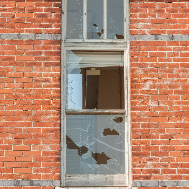 """""""derelict and broken office windows"""" stock image"""