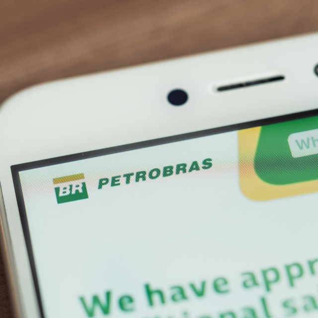 """Petrobras logo on smartphone screen"" stock image"