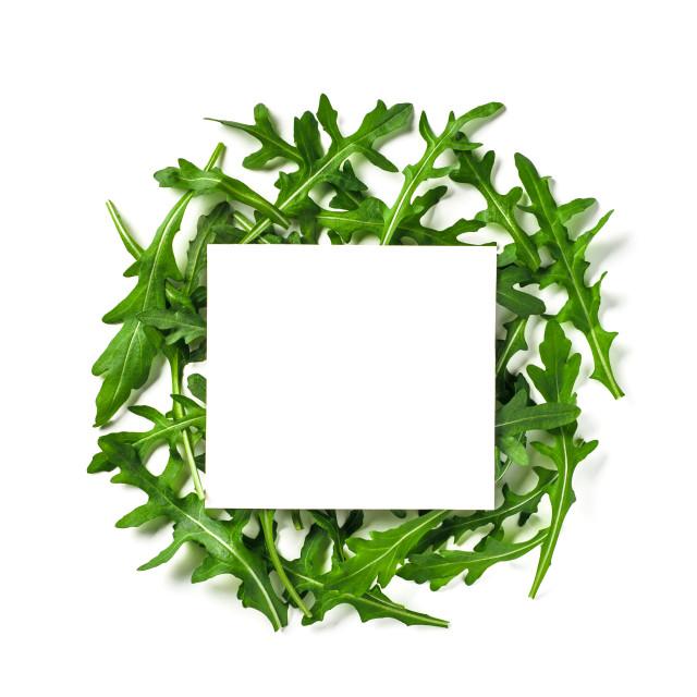 """White paper square on heap of arugula"" stock image"
