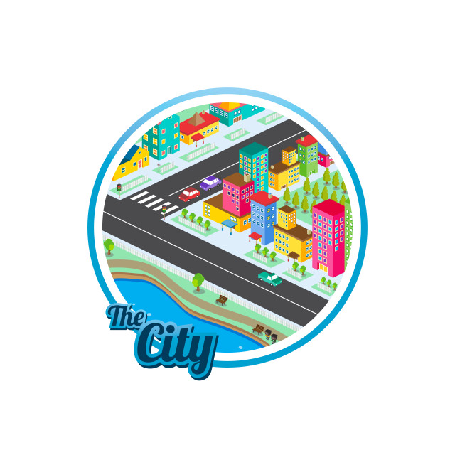 """big city isometric real estate realty cartoon logo template"" stock image"